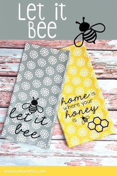 Home is where your honey is. Use this Cricut file to create tea towels, home decor, t-shirts, and more. Great for crafts with the kids or ladies night. Crafts Tea Towels with Bee Quotes: SVG files for Cricut and Silhouette Bee Crafts, Crafts To Sell, Cork Crafts, Wooden Crafts, Fabric Crafts, Easy Crafts, Ladies Night, Vinyl Projects, Craft Projects