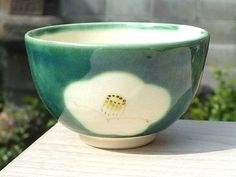 清水焼 岡山陶仙の織部の抹茶碗 わび助椿
