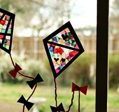 Colorful Stained Glass Kites for Spring Windows