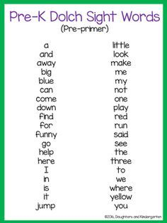 Dolch Sight Word List - Pre-primer by Sarah Griffin Little Learning Corner Pre K Sight Words, Dolch Sight Word List, Preschool Sight Words, Teaching Sight Words, Kindergarten Readiness, Preschool Curriculum, Preschool Kindergarten, Homeschooling, Dolch Sight Words Kindergarten