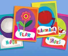 Printable English to Spanish flashcards. So bright and colorful!