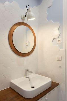Meuble Vasque Sur Mesure Plan De Travail En Bois Exotique Miroir Chine Et Lampe Deco Salle Bain