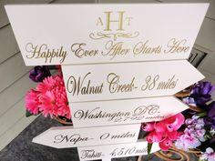 personalized wedding details ceremony reception signs on Etsy elegant gold white