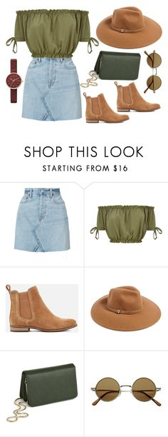 """""""Denim Skirt"""" by nora-amjed ❤ liked on Polyvore featuring RE/DONE, Superdry, Forever 21, Miss Selfridge and Skagen"""