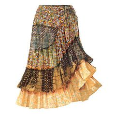 """Boho Gypsy Skirt  Exclusive! 'Gypsy'. Soft and light, this boho-styled skirt falls in flouncy, asymmetric tiers—tie-cinched on the left side—to flare and swirl. Note the brassy, silvery, embroidered-front accents! 100% cotton. Hand washable. Imported. Color: Patchwork Multi. Sizes: XS (2-4), S (6-8), M (10-12), L (14-16), XL (18); 33"""" long."""