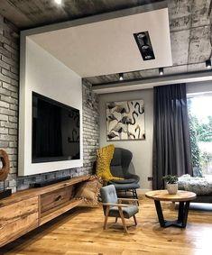 Brick Interior, Small House Interior Design, Small Apartment Design, Home Room Design, Home Office Design, Apartment Interior, Small Apartments, Interior Architecture, Living Room Designs