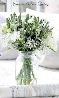 Floral Arrangement - White & Green - Jeanne d'Arc Living.