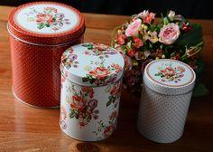 Set of 3 Katie Alice Scarlet Posy Shabby Chic Nested Storage Tins Vintage Style | eBay