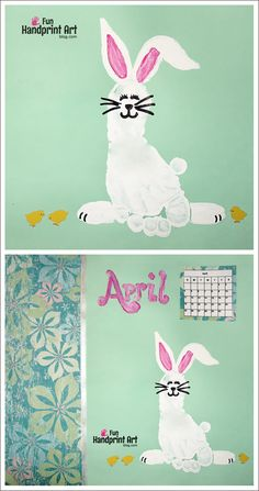 kids footprint ideas: Footprint Bunny Easter Craft for Kids. This is one of the best bunny footprints I've come across that is doable
