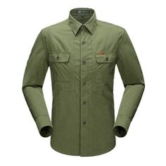 Fabric Material:  100%    Cotton   	   Closure Type:   Single Breasted  	Collar: Turn Down Collar 	Fit Type: Standard 	 Decoration: Solid Color    	  Sleeve: Long Sleeve   	   Thickness:   Standard   	 Color: Army Green,     Khaki, Orange, Blue  	   Occasion:   Casual, Fashion  	 Season:   Spring, Autumn  	 Tag Size:    L, XL, 2XL, 3XL  	 	 	  Package included:  	 1*Shirt    	 	  Please Note:   	             1.Please see the Size Reference to find the correct size.