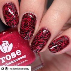 Beautiful reverse stamped mani by the amazing @nailpolishsociety with @repostapp ・・・ Romantic rose nails for the #31dc2016 featuring @picturepolish Rose, a collaboration with the amazing @cottonconey, and Bordeaux by @nilnails. Stamped rose image is from @uberchicbeauty 9-03 stamping plate.