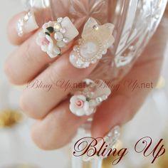 blingup › Bling Bling Nail Art  Japanese Nail Art Baroque Rococo Style 3D Nail Art on Bone White Glitter Tip Nails