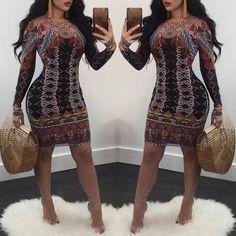 Retro Geometric Pattern Long Sleeve Bodycon Dress
