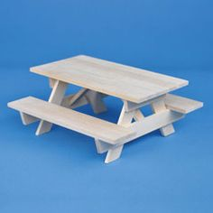 Unfinished Picnic Table with Attached Benches Dollhouse Kits, Dollhouse Miniatures, Dollhouse Furniture, Picnic Table, Benches, Stool, Barbie, Fairy Gardens, Fairies