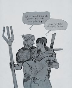 caboodledoodles: have some happy Hawke & Anders on the run :C (i happily believe in my head-cannon that Anders is not far behind Hawke during Inquisition...)