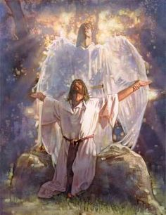 """Luke chapter 22 verse 43 when Jesus is praying at the Mount of Olives!  """"Then an angel from heaven appeared and strengthened him."""""""