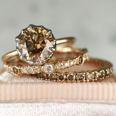 Champagne Saturday love  These champagne diamond rings set in rose gold are available in our SF store and online (shop link in bio). Tag your girls!