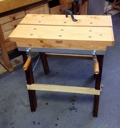 How To Woodworking Books Small Workbench, Portable Workbench, Workbench Plans, Woodworking Workbench, Woodworking Furniture, Furniture Plans, Woodworking Shop, Woodworking Projects, Kids Furniture