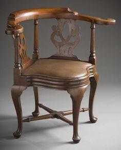 1750-1770 American (Rhode Island) Roundabout chair at the Los Angeles County Museum of Art, Los Angeles - These were also sometimes called corner chairs, since they were designed to fit into the corner of a room to conserve space.