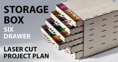 Storage box six drawer project plan ready for laser cut >> Deze wil ik ook wel eens maken en uittekenen. Opbergbox voor stiften, potloden etc. Wie kan zulk een box gebruiken dan ga ik ermee aan de slag.