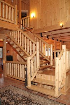 Log Staircase | Cabin Fever | Pinterest