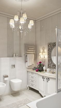 Light bathroom in Neoclassical style with metallic accent