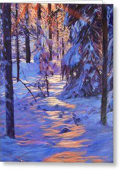 Winter's Light Greeting Card by David Lloyd Glover