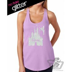 Glitter Disney Is My Home Tank Disneyland Shirt Disney Cinderella... ($22) ❤ liked on Polyvore featuring tops, silver, tanks, women's clothing, pink tank, vinyl shirt, pink tank top, vinyl top and glitter tops