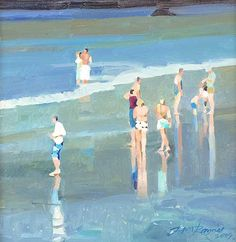 Portreath Bathing Figures I, John Raynes Seascape Paintings, Landscape Paintings, Beach Paintings, Landscapes, Gouache Painting, Painting & Drawing, Smart Art, Coastal Art, Art Graphique