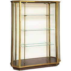 Large French Brass and Glass Open Double-Sided Vitrine
