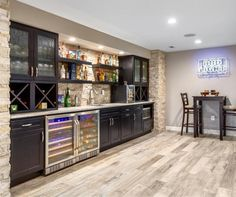 Not sure where to start with a basement renovation? These 19 basement remodel ideas can help you transform an unfinished basement during your next home improvement project! Rustic Basement Bar, Basement Bar Plans, Wet Bar Basement, Basement Kitchenette, Basement Bar Designs, Home Bar Designs, Basement House, Basement Makeover, Basement Renovations
