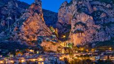 Bing, France, Provance, rock, lights, home, Moustiers Sainte Marie