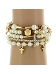 Discount 5-Strand Pearl and Goldtone Beaded Cross Stretch Bracelet