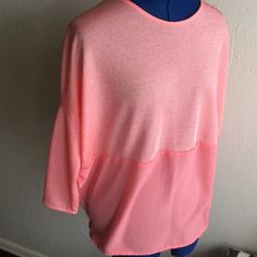 Zara mixed media top Super cute, pretty light coral color Zara Tops