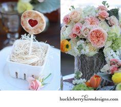 Pie Pop! Peach, cream centerpiece flowers. Rustic chic.
