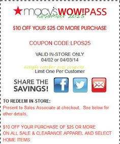 Macy's Coupons Promo Coupons will expired on MAY 2020 ! Macy's Information Shop at Macy's and save more with shoes, clothing, jewelry. Promo Codes For Macys, Macys Coupon, Coupons For Boyfriend, Coupon Stockpile, Free Printable Coupons, Love Coupons, Grocery Coupons, Extreme Couponing, Coupon Organization