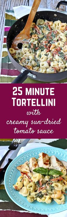 Tortellini with creamy sun-dried tomato sauce and spinach is a weeknight meal or a meal to impress guests! You'll love the flavor the sun-dried tomatoes add to the sauce! Healthy Pasta Recipes, Healthy Pastas, Vegetarian Recipes, Cooking Recipes, Fast Recipes, Sun Dried Tomato Sauce, Dried Tomatoes, Weeknight Meals, Easy Meals
