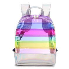 Fashion Women's Backpack Color Striped Laser Plastic See Through Security Transparent Backpack Bag Ladies Travel Bag Ladies Bag Striped Backpack, Backpack Purse, Travel Backpack, Fashion Backpack, Clutch Bag, Hiking Backpack, Crossbody Bag, Girl Backpacks, School Backpacks