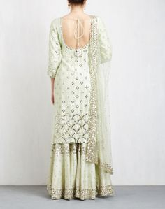 Mint Mirror Work sharara Set is part of Sharara - Sharara Designs, Pakistani Outfits, Indian Outfits, Indian Clothes, Indian Attire, Indian Wear, Wedding Salwar Suits, Sharara Suit, Banarsi Suit