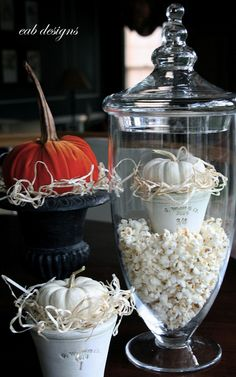 popcorn in apothecary and vintage style felt pumpkins