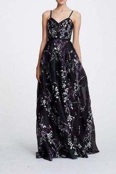 10caddd5378 Marchesa Notte Sleeveless Floral Organza Evening Gown with a V-Neckline and  a Trim Waistband.