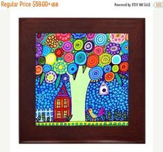 50% Off Today- Tree Landscape Folk Art Ceramic Framed Tile by Heather Galler - Ready To Hang Tile Frame Gift