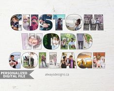 This listing is for a personalized word photo collage. Use your childs name, partners name, family last name, whatever word you decide! Makes a great unique gift for a loved one or a unique way to display your favourite pictures. To see my other personalized photo collages, please
