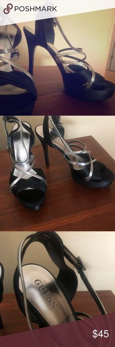 "Guess Black and Silver Strappy Heels 4"" heels Strappy black and silver VERY comfortable Fabulous condition - no flaws Guess Shoes Heels"