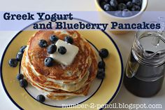 Greek Yogurt and Bluberry Pancakes....so funny to see this...I have been making these...now I can share without the work :P....I use ww flour and protein powder