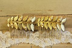Aphrodite 2 hair comb  Gold Leaf and pearls set of  2 by iloniti, $42.00