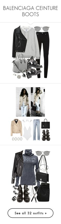 """""""BALENCIAGA CEINTURE BOOTS"""" by florencia95 ❤ liked on Polyvore featuring McQ by Alexander McQueen, Zoe Karssen, Givenchy, Linda Farrow, Acne Studios, Forever 21, Vetements, Ray-Ban, Balenciaga and Yves Saint Laurent"""