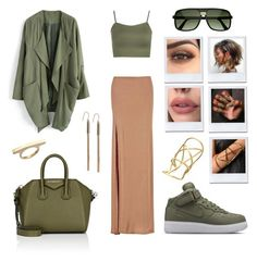 """""""Naked Olive"""" by robinnnnnnn ❤ liked on Polyvore featuring ZeroUV, Givenchy, WearAll, Pamela Love, Chicwish, Boohoo, Haze, Lauren Ralph Lauren and B/C Designs"""