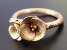 Golden Poppies, in Rose Gold - Handsculpted, Cast Ring in Solid 14K Pink/Rose Gold - Custom by oldrose