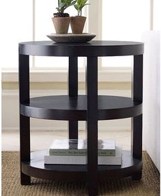 Round End Table Contemporary Espresso Finish Wood Black Living Room Furniture #ABBYSONLIVING #Contemporary #Furniture #Table #LivingRoom #Home